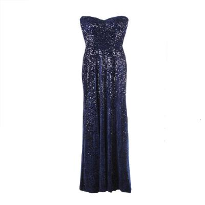 tube top sequin evening gown navy